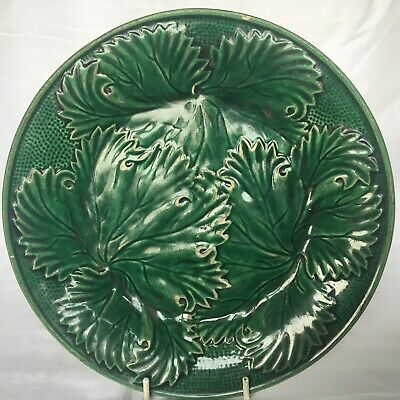 £18 • Buy Victorian Majolica Cabbage Leaf Plate 20.5cm (8in)