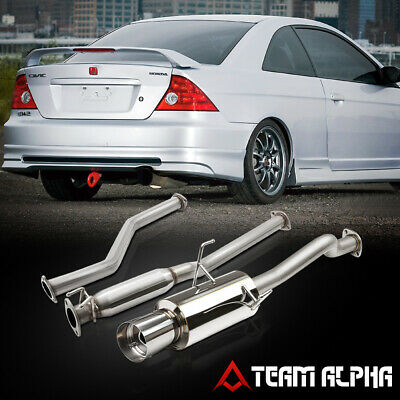 $123.89 • Buy Fits 2001-2005 Civic EX [4  TIP MUFFLER] Stainless Steel Catback Exhaust System