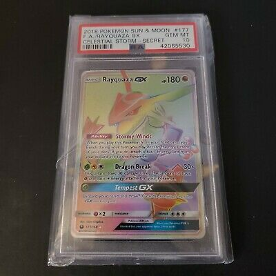 $ CDN1500 • Buy PSA 10 - 2018 Rayquaza GX 177/168 Celestial Storm Full Art Pokemon - GEM MINT