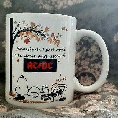 £8.99 • Buy *free Postage Be Alone Snoopy Listen Ac/dc Ac Dc Mug Cup Gift Dishwasher Safe