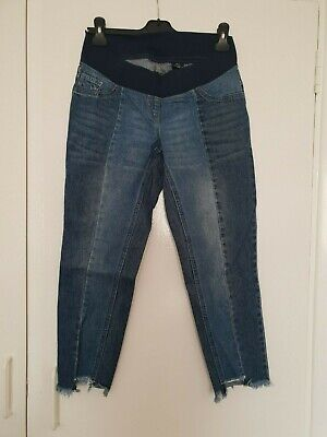 £7.99 • Buy 🔴NEXT MATERNITY SLIM SLOUCH Blue Under Bump Cropped Jeans Size 10-12 1419