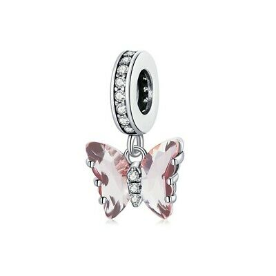 AU28.99 • Buy SOLID Sterling Silver Hanging Butterfly Dream Crystal Charm By Pandora's Wish