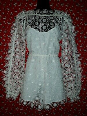 AU45 • Buy White Guipure Lace Long Sleeve Romper Size 8 Alice McCall