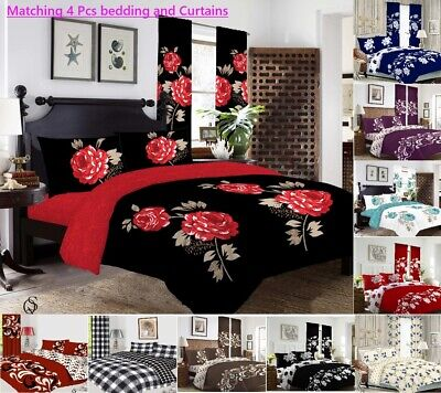 £17.99 • Buy MATCHING 4 Pieces BEDDING SET CURTAINS Duvet Cover Fitted Sheet Pillowcase