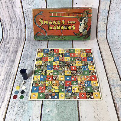 £24.99 • Buy Vintage / Old 1930's Snakes And Ladders Board Game Complete Boxed