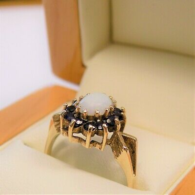 £99.95 • Buy 9ct Solid Yellow Gold Opal & Blue Spinel Ring Size M 1/2 Hallmarked Free UK Post