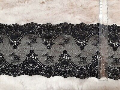 £2.99 • Buy QUALITY BLACK SOFT STRETCH LACE 17cm WIDE TRIM CRAFTING LINGERIE MAKING FABRIC