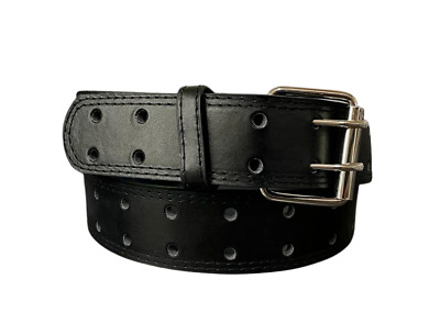 $8.79 • Buy Men's Genuine Leather Two Hole Double Prong Fastener Silver Buckle Dressy Casual