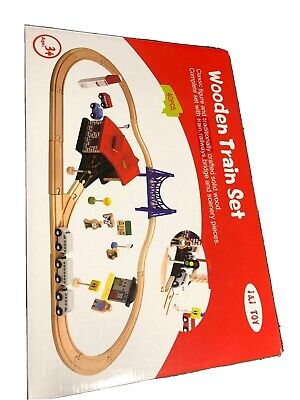 £25.99 • Buy Wooden 40 Pcs Busy City & Train Set Railway Track Toy Brio Bigjigs Compatible