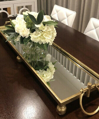 AU109 • Buy Gold Dover Iron Mirrored Tray With Handles.