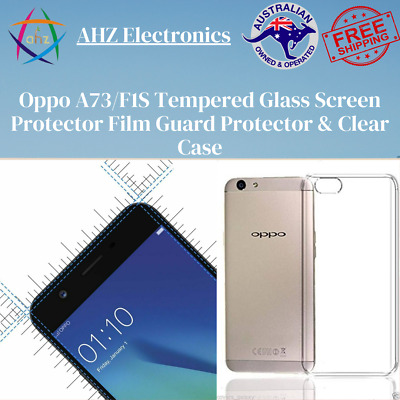 AU10.99 • Buy Oppo A73/F1S Tempered Glass Screen Protector Film Guard Protector & Clear Case