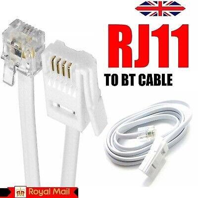 £2.99 • Buy BT To RJ11 Telephone Modem Cable Lead UK Fax Router Phone Sky Box   – WHITE