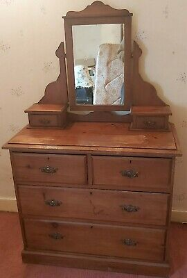 £90 • Buy Edwardian Pitch Pine Mirrored Dressing Table Two Over Three.