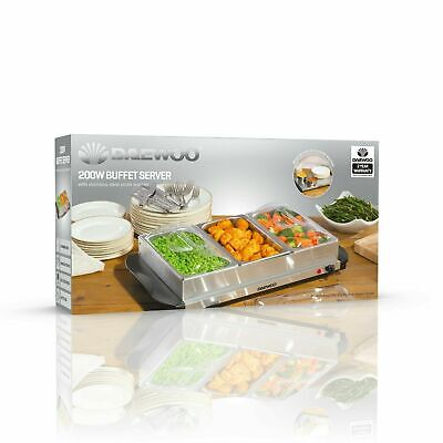 £29.75 • Buy Daewoo Electric Buffet Server With 3 X 1.5L Serving Dishes And Plate Warmer