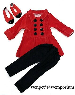 £7.99 • Buy Design A Friend Chad Valley Outfit Red Coat Black Leggings & Matching Shoes