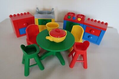 £27.95 • Buy Lego Duplo -Large DOLLS  HOUSE KITCHEN FURNITURE - Table, Chairs, Cooker, Sink
