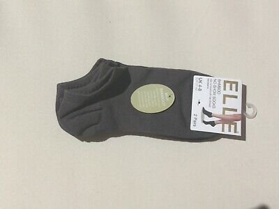 Elle Ladies Bamboo No Show Socks Grey Size 4-8 X 2 Pairs • 7£