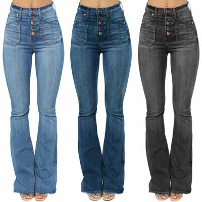 £21.39 • Buy Women High Waisted Flared Jeans Stretch Denim Pants Skinny Bell Bottoms Trousers