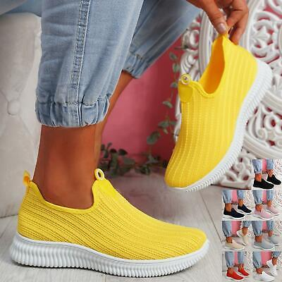 $ CDN22.15 • Buy Womens Ladies Knit Running Trainers Slip On Sneakers Sports Gym Women Shoes Size