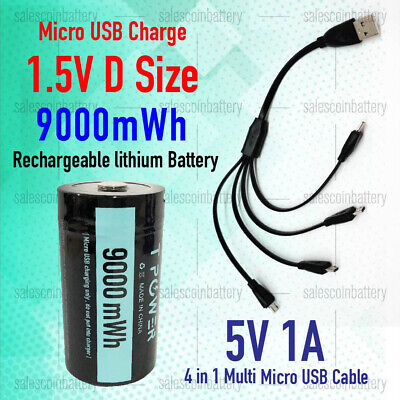 AU67.99 • Buy 1.5V 9000mWh D Size Rechargeable Lithium Battery Micro USB Port W/ 5v 1A Cable
