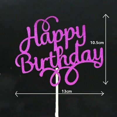 £1 • Buy Glitter Happy Birthday Cake Toppers Calligraphy Bling Sparkle Decoration