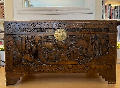 £270 • Buy Antique, Hand-carved, Camphor Wood Chinese Chest