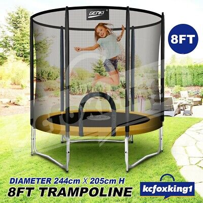 AU234.29 • Buy Genki Trampoline Junior Jumping Gift W/Safety Enclosure Net Pad Outdoor Toy 8ft