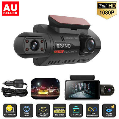 AU46.99 • Buy HD 1080P 3'' Car DVR Dual Lens Dash Cam Front And G-sensor Video Recorder BR AU