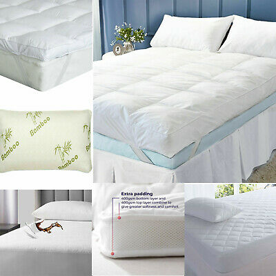 £10.95 • Buy 10cm Microfiber Luxury Hotel Quality Soft Thick Mattress Topper Pad Protector 4