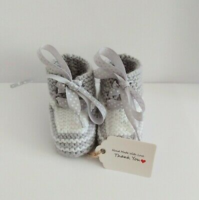 £3.75 • Buy Knitted New Baby Booties Grey & White Ready Gift Wrapped 0-3 Mths Super Cute