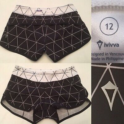 $ CDN34.99 • Buy Ivivva By Lululemon Girls 12 Speedy Shorts Run Lined Black & White Fits Women 4