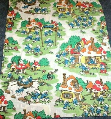 Vintage 80s Smurfs Size 80x100  Flat  Bed Sheet Peyo JCPenney Fabric Very Nice • 25.37£