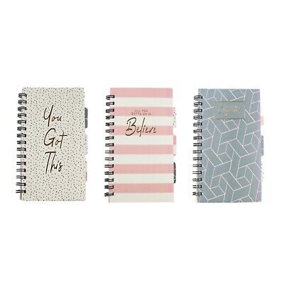 A5 Notebook - Ruled Notepad Spiral Poly Pastel Divider Wire Lined Journal Diary • 2.95£