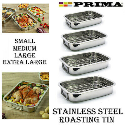 £12.95 • Buy Roasting Tray Stainless Steel Oven Pan Dish Meat Baking Roaster Tin Grill Rack