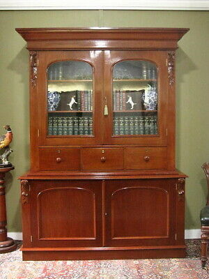 AU1850 • Buy ANTIQUE AUSTRALIAN CEDAR 2 HEIGHT 4 DOOR 3 DRAWER BOOKCASE DISPLAY CABINET C1870