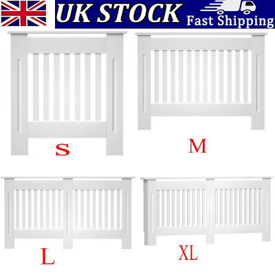 £34.99 • Buy Radiator Cover White Cabinet Slatted Traditional Shelf Grill Furniture MDF Wood