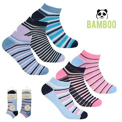 Ladies Bamboo Striped Ankle Running Sports Gym Trainer Liners Socks UK 4-7 B522