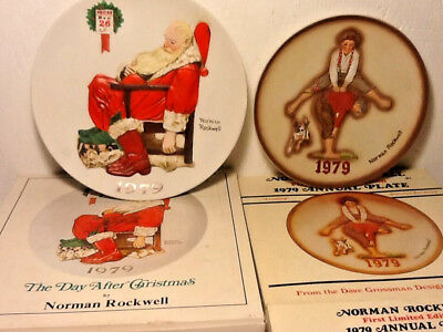 $ CDN7.23 • Buy Two 1979 Norman Rockwell Plates The Day After Christmas & Boys Jumping - MINT