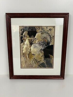 $ CDN59.51 • Buy Vintage Norman Rockwell Freedom Of Worship Framed Print Norman Rockwell Museum