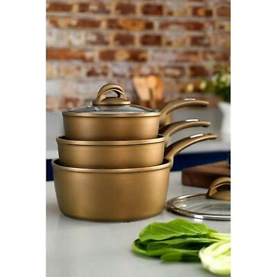 Tower Ceramic Non-Stick Gold Saucepan Pots Set With Glass Lids 18/20/22cm • 41.99£