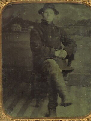 £36.65 • Buy Mid-19th Century Tintype: Young Man In Tall Boots And A Warm Coat.