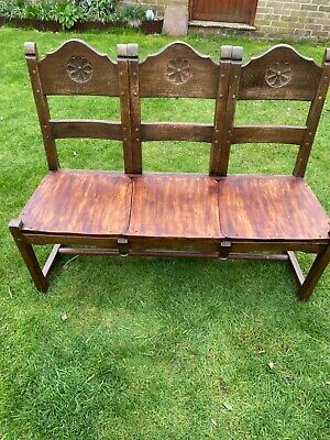 £70 • Buy Vintage Carved Oak Hall Seat. Up Cycled Oak Dining Chairs. Heavy Solid Item.