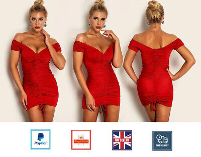£9.99 • Buy Women Sexy Off Shoulder Mini Dress Drawstring Ruched Ladies Party Dress Bodycon