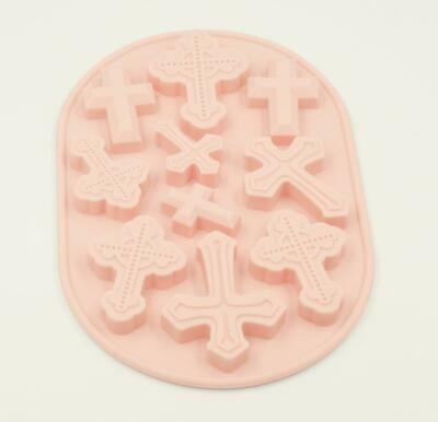 £4.50 • Buy 10 Cavity Easter Crosses Shape Silicone Mould Tray Pink Cross Mold Party Baking
