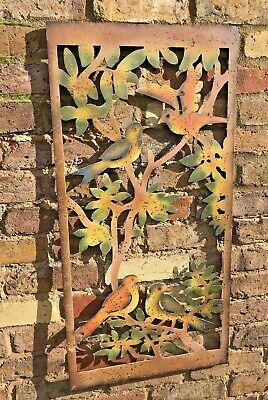 £44 • Buy Garden Wall Art Ornament Birds Tree Design Metal Wall Or Fence Hanging Large