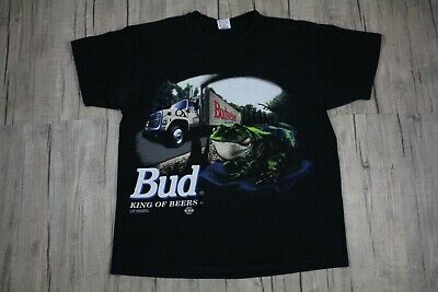 $ CDN62.24 • Buy Vintage 1995 Budweiser King Of Beers Frog Truck Black Shirt Size XL Made In USA
