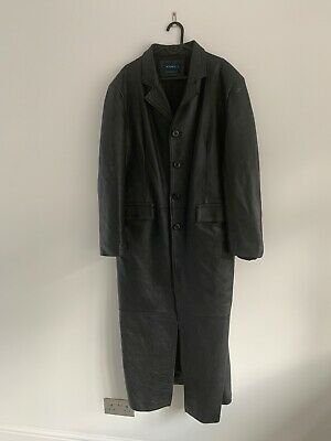 Mens German Style Ww2 Officer Military Uniform Black Leather Trench Coat Bluf • 39£