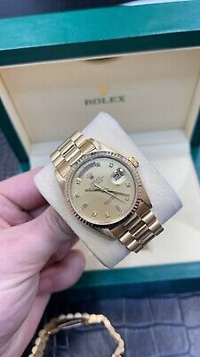 £13500 • Buy Rolex Day Date 36mm Yellow 18238 Full Set 1995 Factory Champagne Diamond Dial