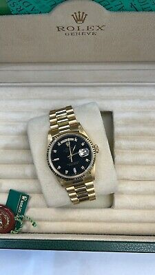 £15000 • Buy Rolex Day Date 36mm Yellow 18238 Full Set 2000 Factory Black Diamond Dial