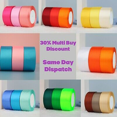 £2.59 • Buy 23 Metres, DOUBLE SIDED Satin Ribbon (Rolls). 6mm 10mm 15mm 25mm 38mm Widths